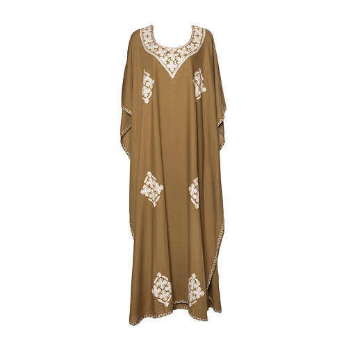Kaftan (Mocha with White Flowers)