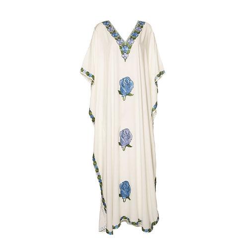 Kaftan (White with Blue Flowers)