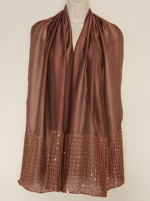 Cognac Silk Modal with Sequins