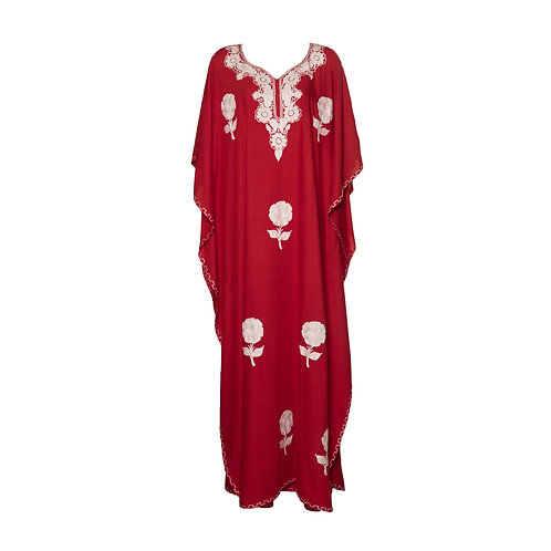 Kaftan (Red with White Flowers)
