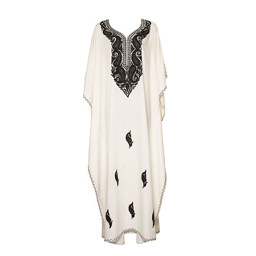 Kaftan (White with Black Flowers)
