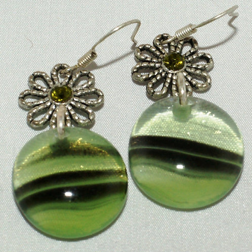 "Fused Glass Green ""Drops"" with Iridized Effects and Silver Colored Daisys"
