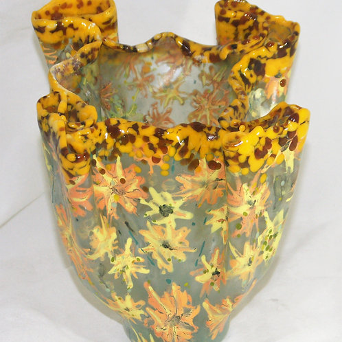 11 Inch Fused Glass Yellow Flowers Vase
