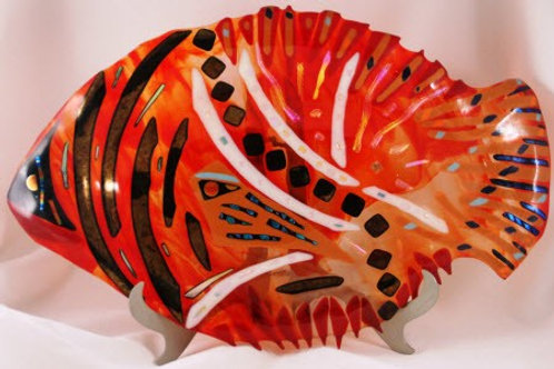 15 inch Fused Glass Dish - Fused Dichroic Fish