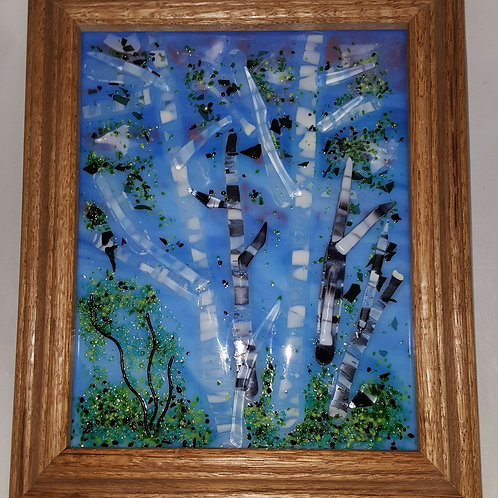 Fused Glass Birch Trees in Blue Panel
