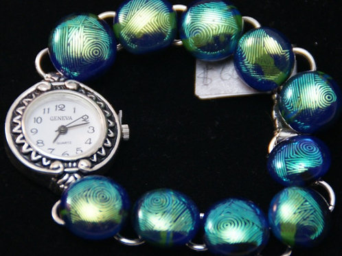 Fused Glass Bracelet with Watch - Dichroic Fingerprrint Pattern