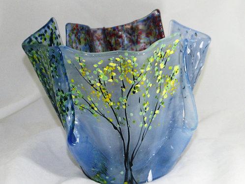 7 Inch Four Season Vase- Fused Glass Vase