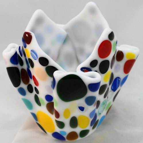 Fused Glass Candle Holder - Fused Colored Dots