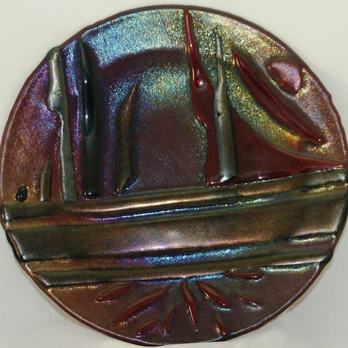 Iridized Cranberry Glass Fused Glass Plate