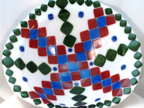 Fused Glass Bowl - Blue, Red and Aventurine Green on White
