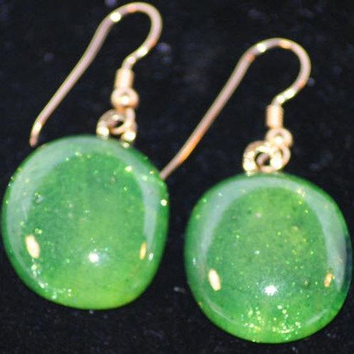Fused Glass Earrings - Creamy Green iridized