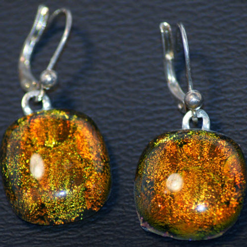 Fused Glass Earrings - Copper Colored Dichroic