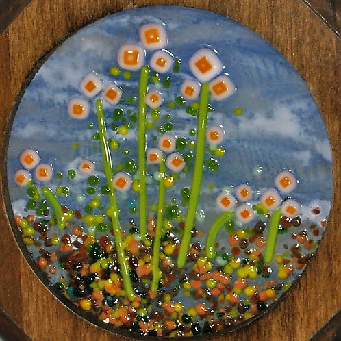 Fused Glass Orange Meadow Picture