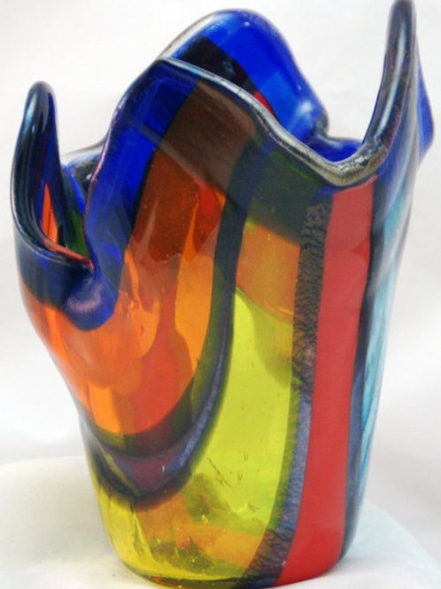 Fused Glass Vase - Colored Stripes with iridized trim