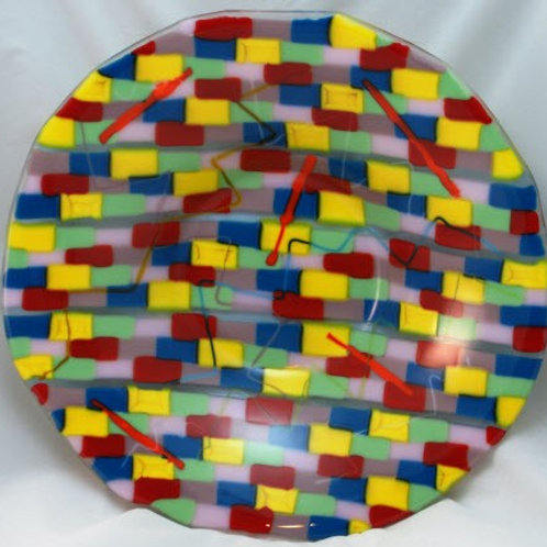 14 Inch Fused Glass Bowl - Colorful Geometric Patterns