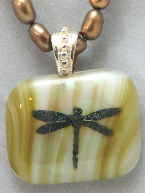 Fused Glass Dragonfly Pendant with 16 inch Bronze Colored  Pearl Necklace