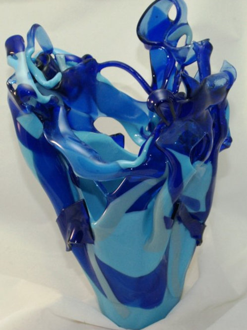 Fused Glass Vase - Blue Ribbons