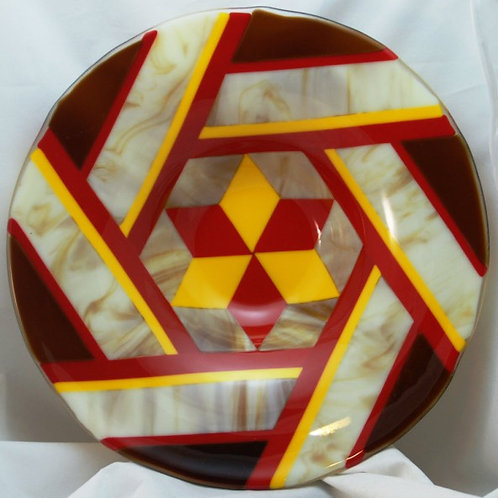14 Inch Fused Glass Bowl - Geometric Star