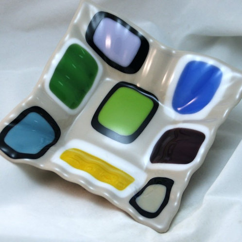 Fused Glass Dish - Retro - Colored Squares