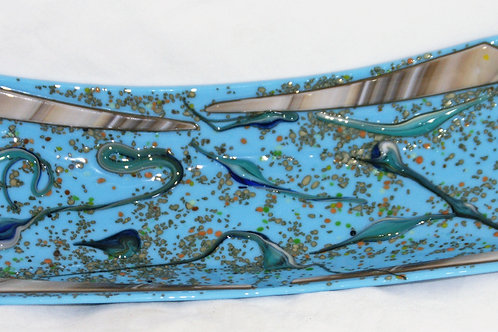 5 by 14 inch Vitro Splash - Fused Glass Dish