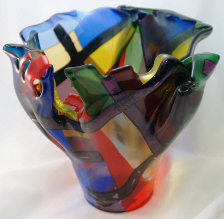 Large Fused Glass Vase Colored And Iridized Strips