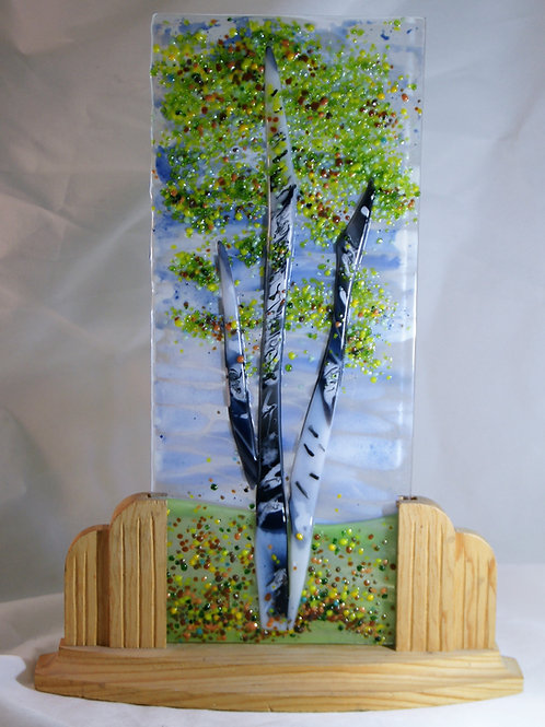 Elegant Fused Glass Birch Tree