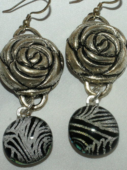FUsed Glass Earrings - Silver Colored Rose Accent