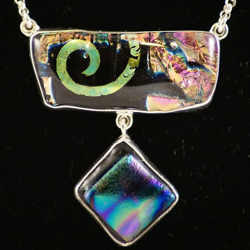 Double Fused Glass Pendant - Dichroic in Sterling Silver