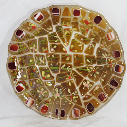 8 1/2 Inch Mosaic Fused Glass Plate