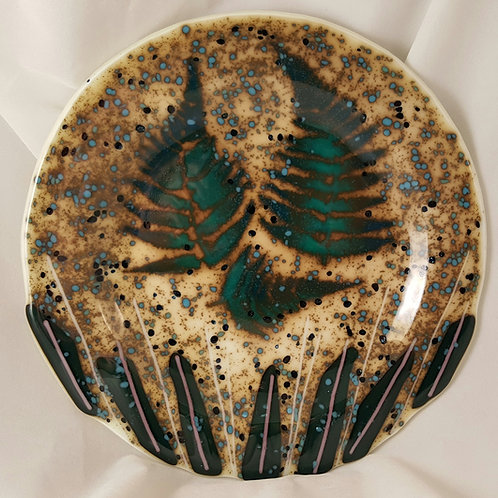 Fused Glass Fall Ferns - 9 Inch Plate