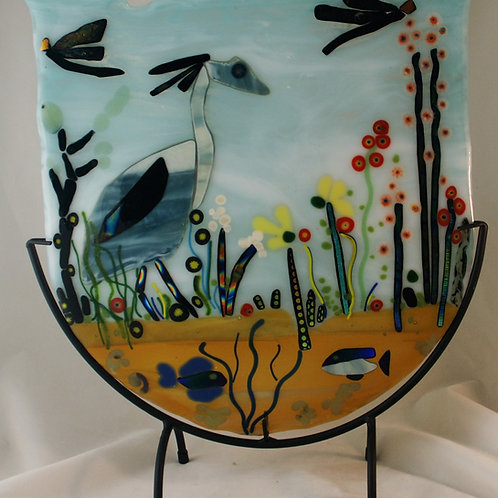 Fused Blue Heron Panel in Stand