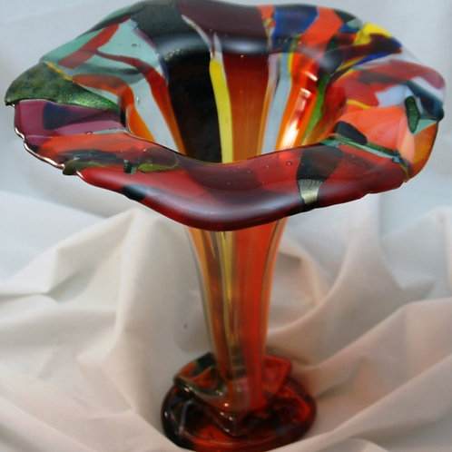 9 Inch Fused Glass Vase - Drop Vase with Iridized Strips