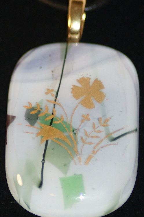 Fused Glass Pendant - 22k Gold flower accent