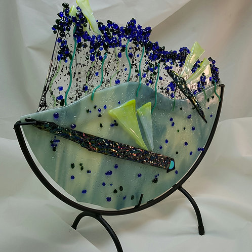 Fused Glass Dragonflies on Pond