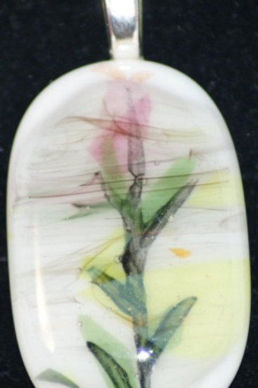 Fused Glass Pendant - Fused Abstract flower