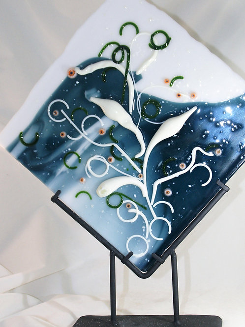 Fused Glass Calla Lillie's Panel with Stand