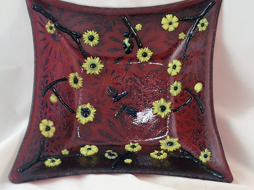 Fused Glass Dish - Square Cranberry Flower Bowl