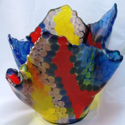 Fused Glass Vase - Colored Pebbles with Frit