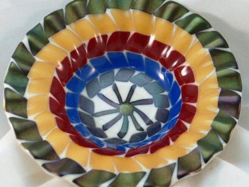 Fused Glass Bowl with colored concentric circles and Iridized Trim
