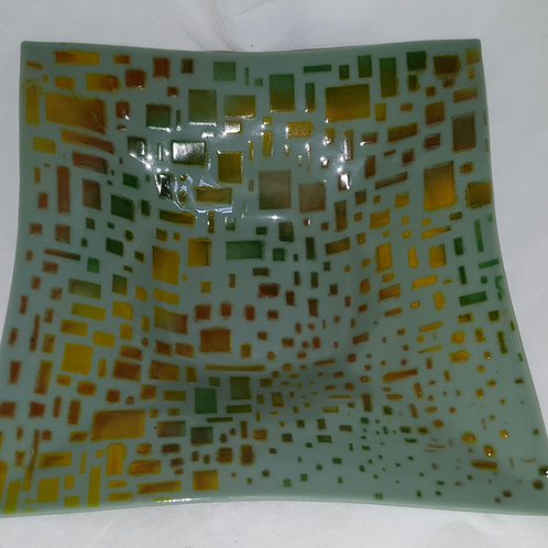 11 Inch Fused Glass Bowl - Retro Look