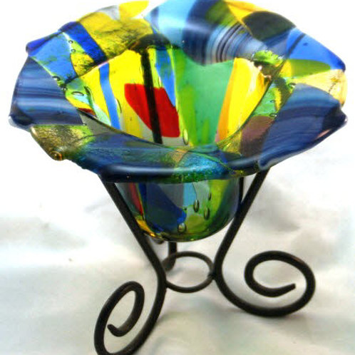 Fused Glass Drop Dish - 4 inch Multicolored dish with Stand