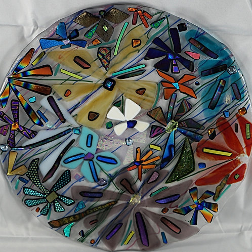 11 inch Fused Glass Plate  - Garden Blast Fusion