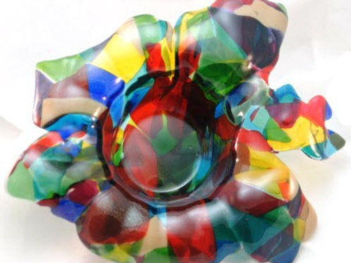 Fused Glass Bowl - 15 inch Uniquely Shaped Drop Bowl