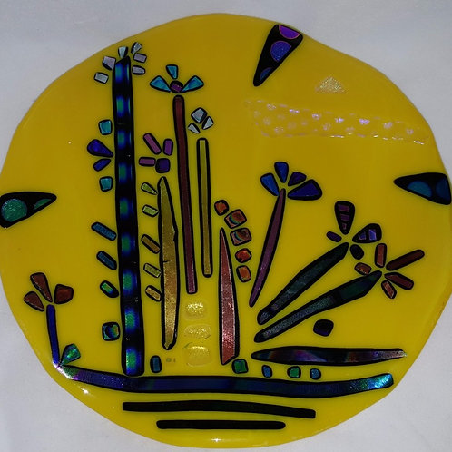 Fused Glass Plate - Yellow Spring Surprise