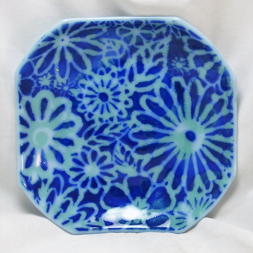 7 Inch Fused Glass Bowl - Blue Flowers