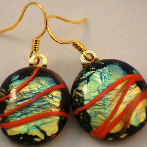 Fused Glass Earrings - Dichroic with Orange Stripes