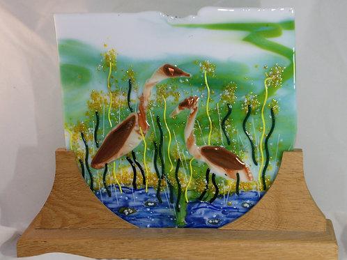 Spring Herons - Fused Glass Art Panel
