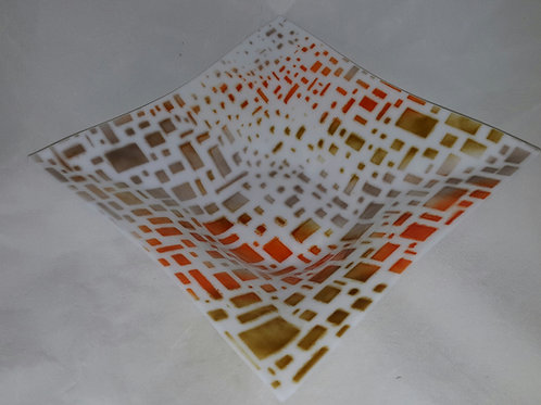 Fused Glass Bowl - Retro White Squares