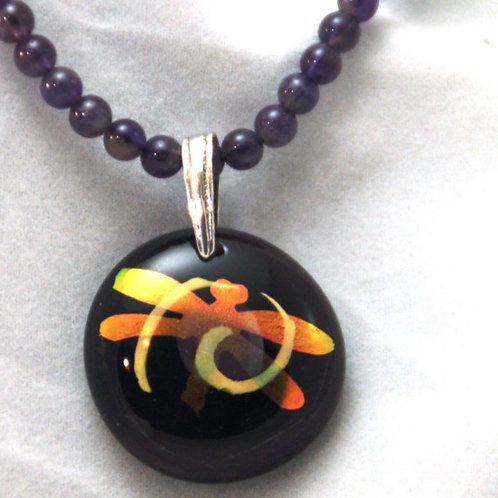 Fused Glass Pendant - DIchroic Dragonfly with Amethyst Beads