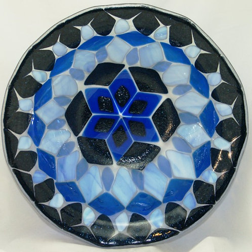 13-inch Fused Glass Bowl - Aventurine Blue Fused Geometric with Streaky Blue Acc